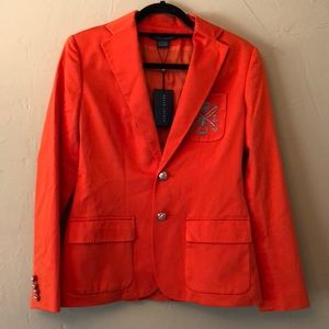 Bright orange embroidered Business coat
